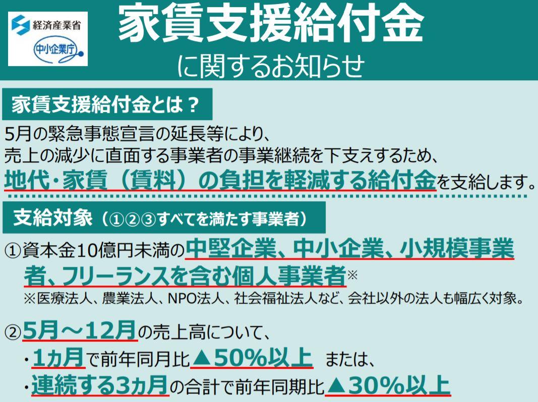 家賃支援給付金 申請受付は7月14日(火)より開始